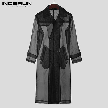 Fashion Men Mesh Trench Transparent Streetwear Long Sleeve Double Breasted Long Coats Chic Thin Outerwear Jackets INCERUN S-5XL