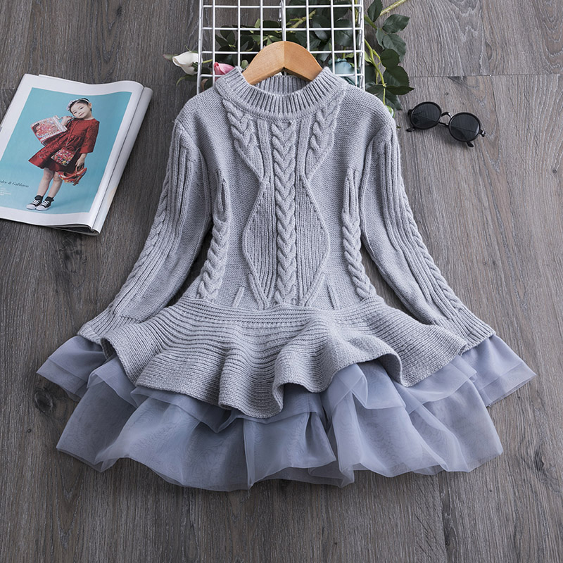 H7471ea3d1fc946dba4ea13955c3e15fet 2019 Winter Knitted Chiffon Girl Dress Christmas Party Long Sleeve Children Clothes Kids Dresses For Girls New Year Clothing