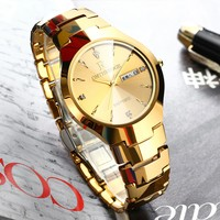 ONTHEEDGE Brand luxury Premium Tungsten Steel Round Dial Men Quartz Watch Couple Stainless Steel Band Business Mens watches Gift