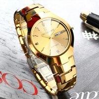 ONTHEEDGE Brand luxury Premium Tungsten Steel Round Dial Men Quartz Watch Couple Stainless Steel Band Business Mens watches Gift