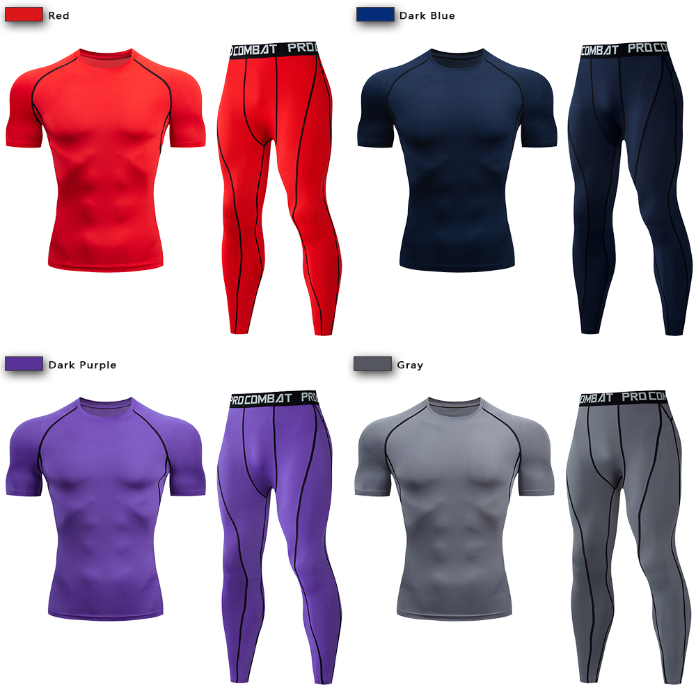 Men's Compression Sport Suit Quick Dry Running Set Clothing Sports Outdoor Joggers Training Gym Fitness Tracksuit Sportswear Kit