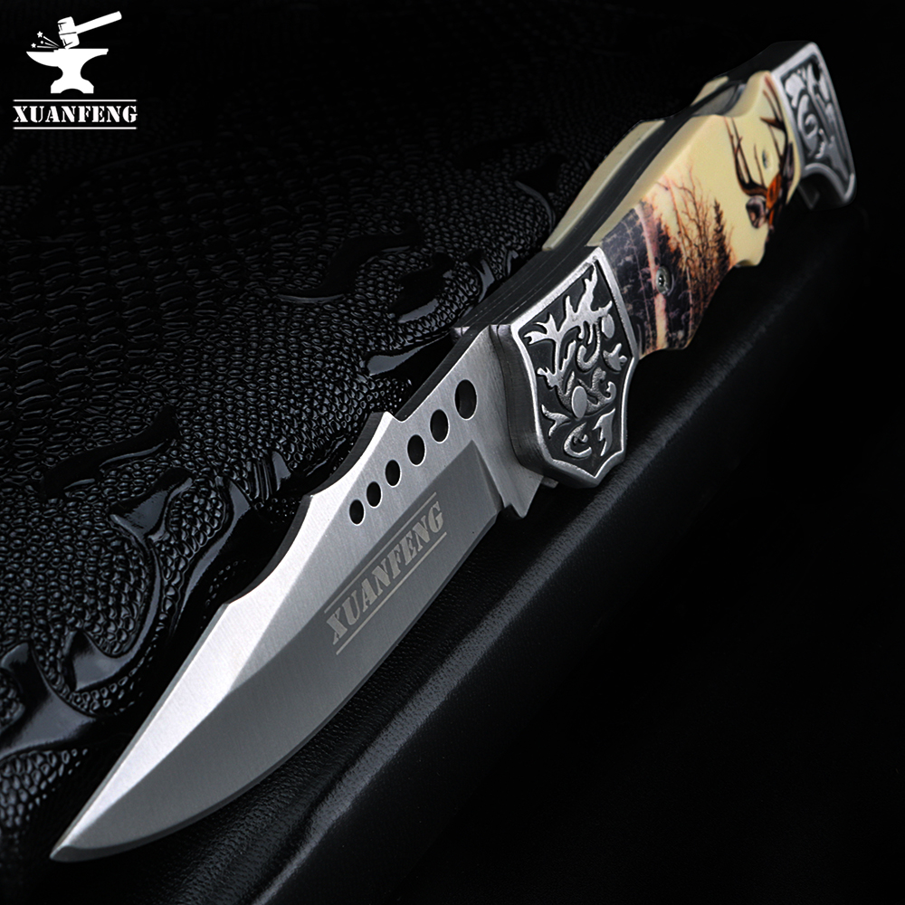 XUAN FENG Outdoor Tactical Hunting Knife High Hardness Army Knife Folding Knife Camping Portable Pocket Knife