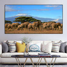 Elephants Herd Tree Mount Kilimanjaro Kenya Wild Animals Canvas Painting  Posters and Prints Wall Art Pictures For Living Room