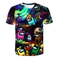Casual Onder Ons Nieuwe T-shirt Kinderen Nieuwe Kawaii 2021 Grappige Zomer Cartoon T-shirt Voor Meisjes Kid Jongens Kleding Unisex short4-14T