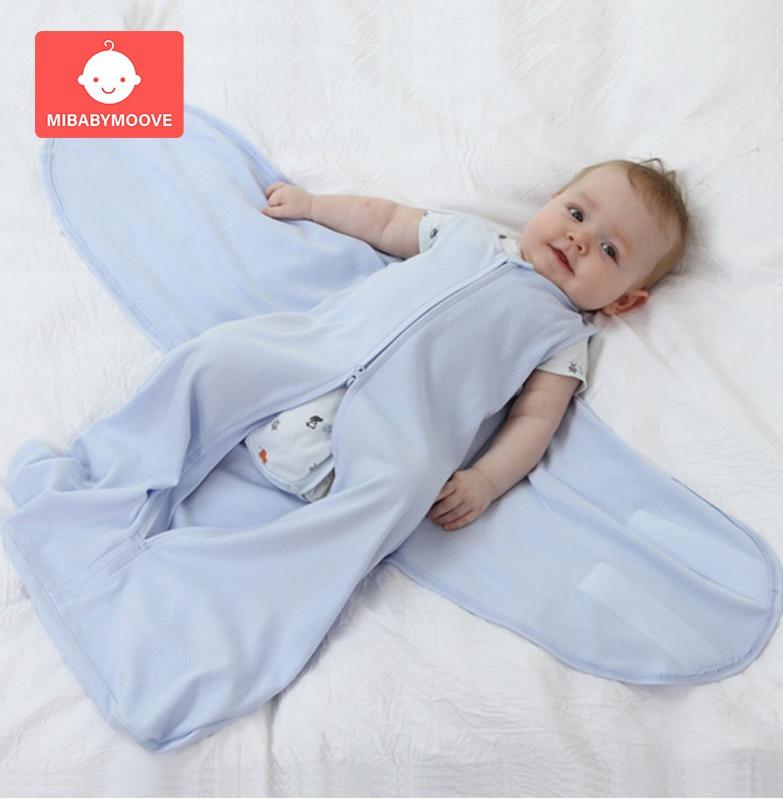 Solid Cotton Newborn Baby Sleeping Bag Envelope Cute Cartoon Printed Sleepsack Swaddle Wrap Cloth 0-12months