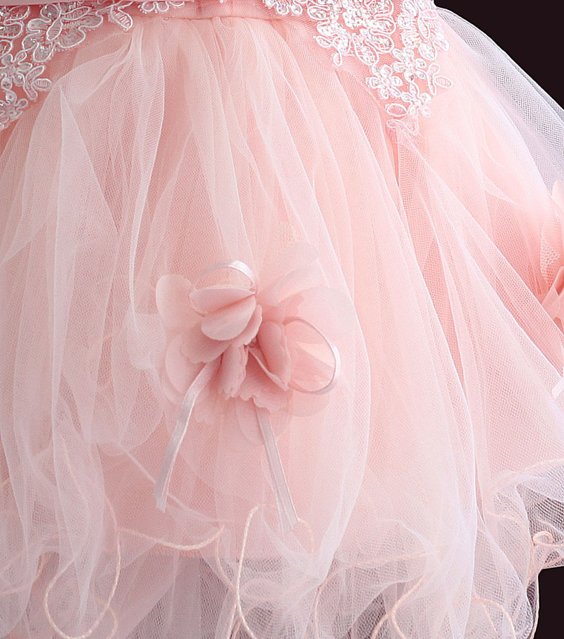 Zoeflower New Style Curd Lace Baby Princess Dress Baby GIRL'S A Year Of Age Birthday Formal Dress Powder