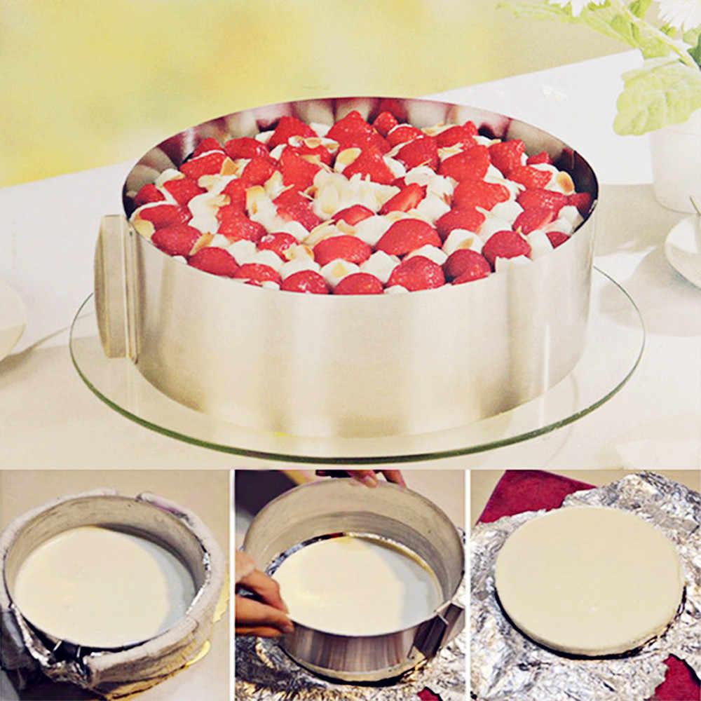 16-30 سنتيمتر قابل للتعديل الفولاذ المقاوم للصدأ فندان قالب الكعكة القاطع الخبز مستديرة موس حلقة قالب الكعكة المطبخ كعكة أداة زخرفة
