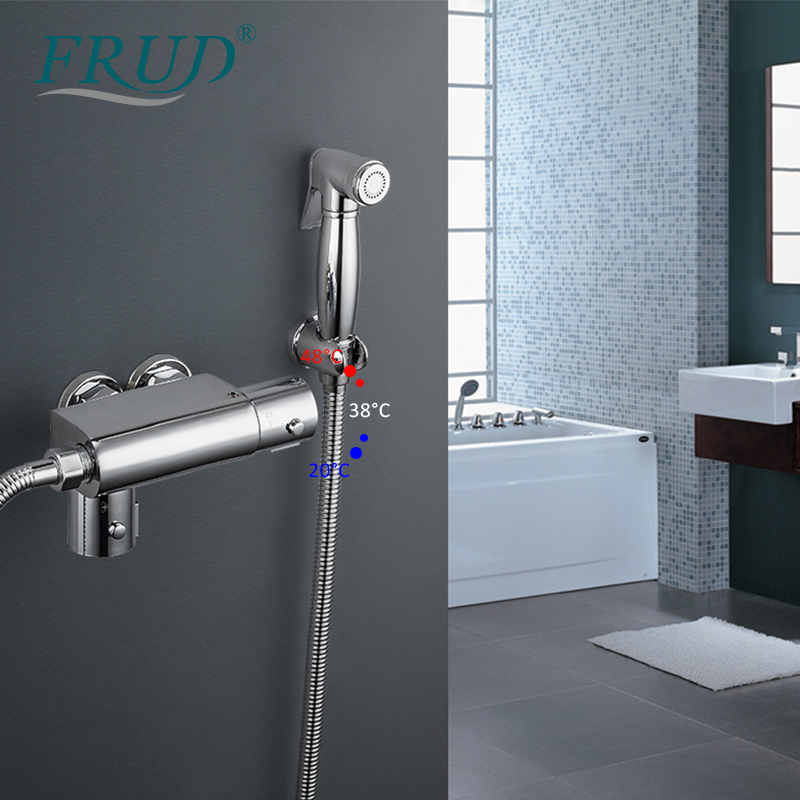 FRUD Bidets Thermostatic Shower Brass Chrome Bidet Toilet Faucet Shower Portable Sprayer Set Hot And Cold Water Hygienic Shower