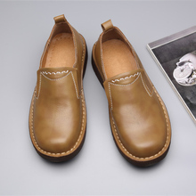 New Arrival Business Man Slip On Leather Oxfords Hight End Retro Leathe