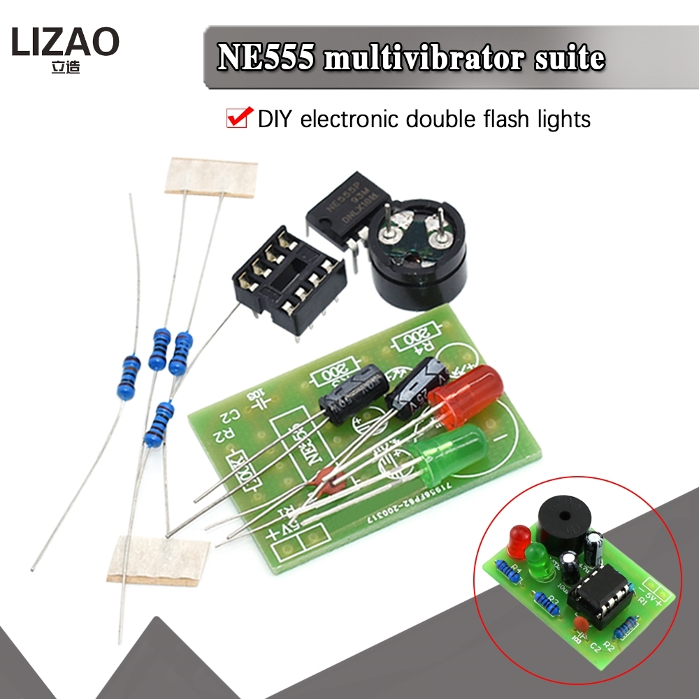 Набор мультивибраторов NE555 NE555P, устройство для самостоятельного обучения, Студенческая Лаборатория, бесперебойная цепь, двойная вспышка