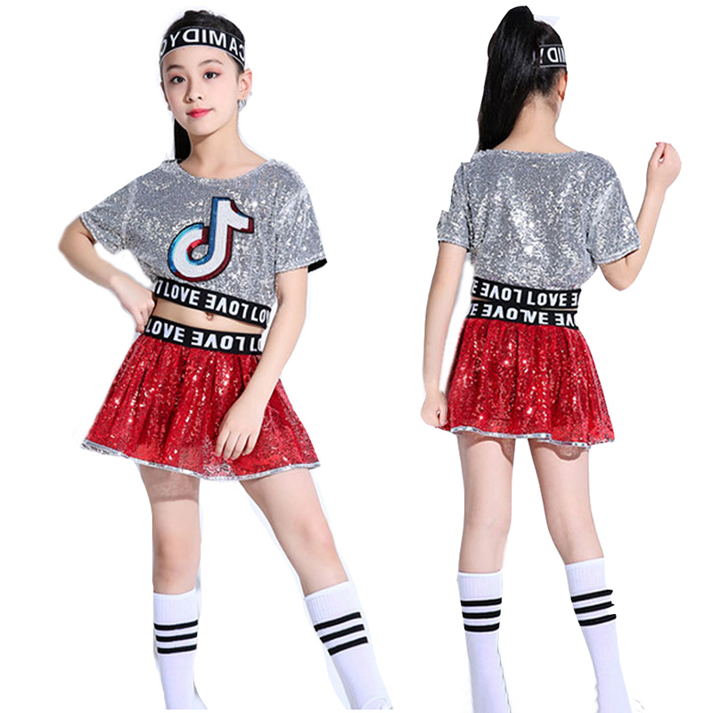 Crianças jazz dança traje hiphop vestidos para meninas palco desempenho cheerleader trajes holográfica lantejoulas topo + saia conjunto