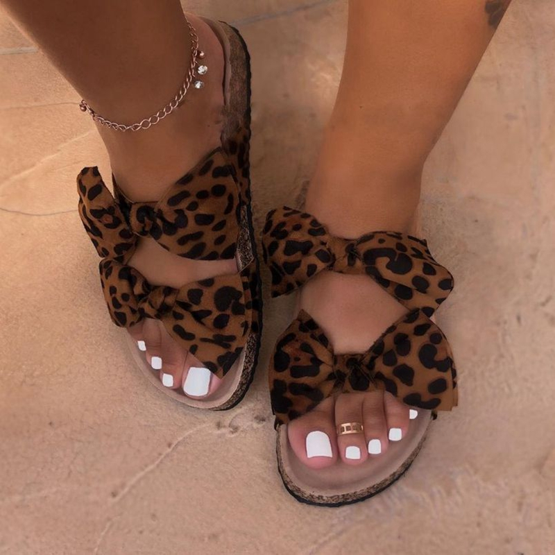WENYUJH Bow Leopard Women Slipper Sandals Summer Open Toe Platform Slide Ladies Fashion Hollow Light Slip On Sandals Woman Shoes