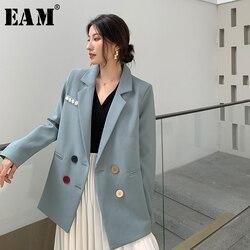 [EAM]  Women Blue Colorful Cutton Big Size Blazer New Lapel Long Sleeve Loose Fit  Jacket Fashion Tide Spring Autumn 2020 1W487