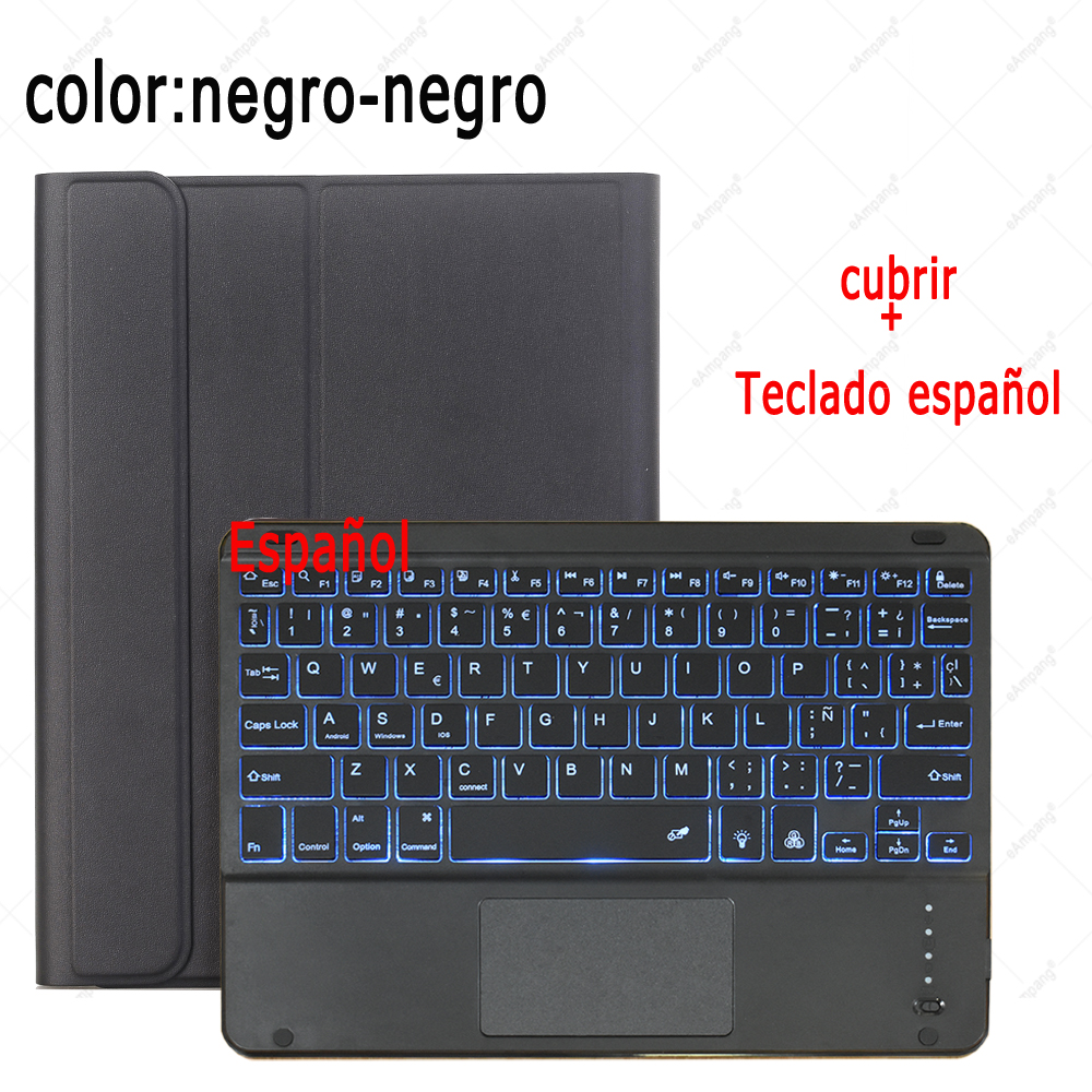 Spanish Keyboard Hot Pink For iPad 7th 8th Generation 10 2 2019 A2200 A2198 A2232 Case with Backlit Touchpad Keyboard