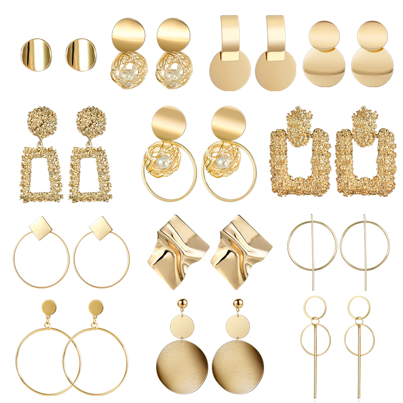 Модные массивные металлические серьги 2019, большие геометрические серьги для женщин, висячие серьги, висячие серьги, современные женские ук...