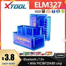 Xtool 2019 mini elm327 bluetooth v1.5/v2.1 pic18f25k80 327 obd2 scanner obd ferramenta de diagnóstico do carro leitor de código para android windows