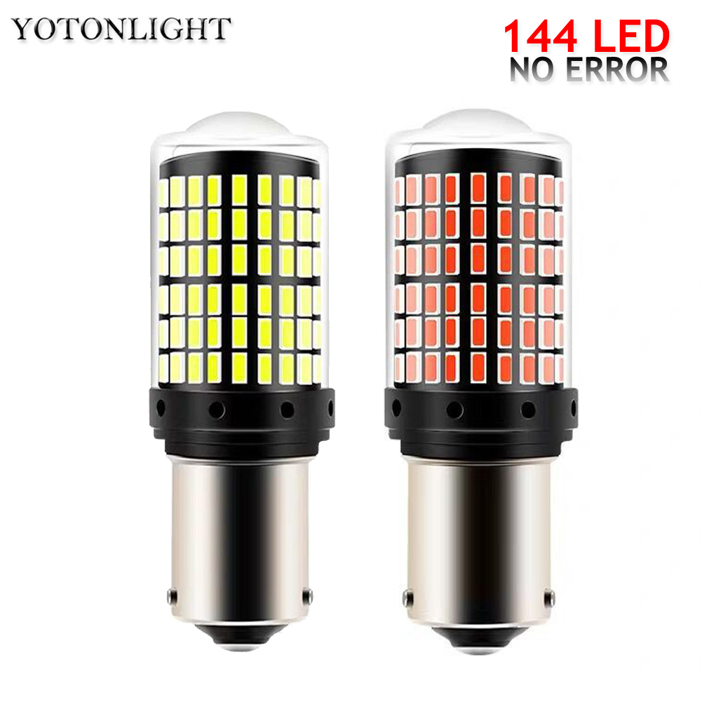 1 pcs 144 <font><b>Led</b></font> 3014 SMD 1156 Ba15s Ba15d P21w 1157 <font><b>Led</b></font> Bulb <font><b>T20</b></font> W21W <font><b>7440</b></font> Canbus <font><b>Led</b></font> Lamp Brake lights Turn Signal Light No Error image