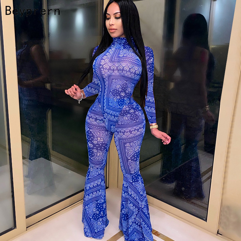 Beyprern New Chic Print Squad Capri Set Two-Piece Suits Womens Long Sleeve Print Mesh Bodysuit Top And Flare Pant Tracksuits Set