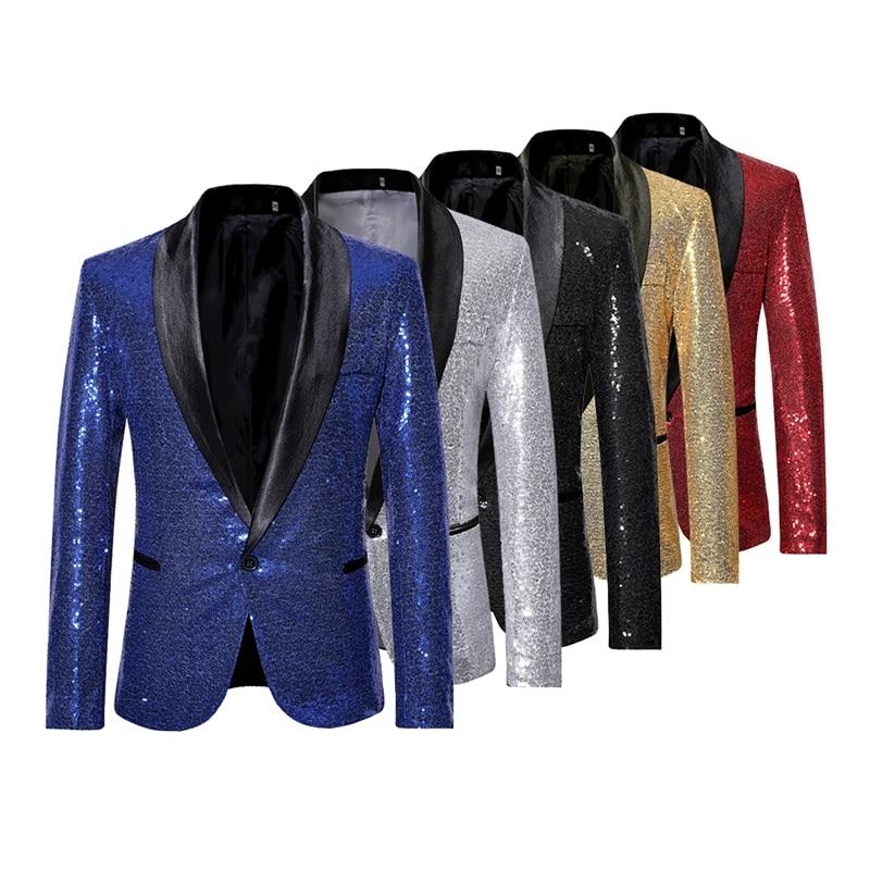Mens Sequins Suit Blazer Jacket Brand Shiny Glitter Embellished Blazer Male Slim DJ Club Stage Blazer Formal Wedding