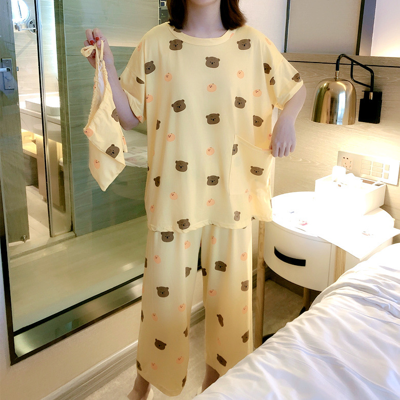 Cloth Bag Pajamas Female Summer Short Sleeve Trousers Apricot Bear M -Xxl Selfie Original