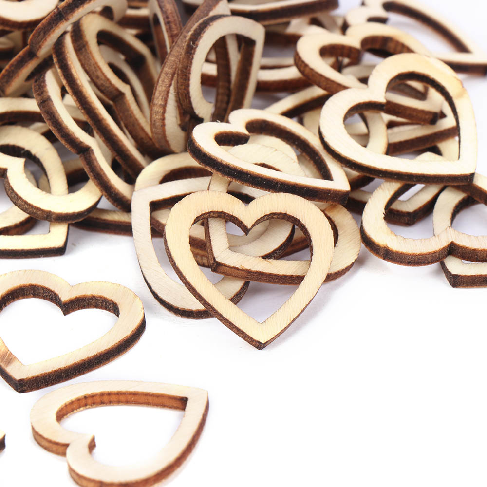 100x Mixed Heart Shaped Wood Chips DIY Handmade Accessories Decals Decorations#