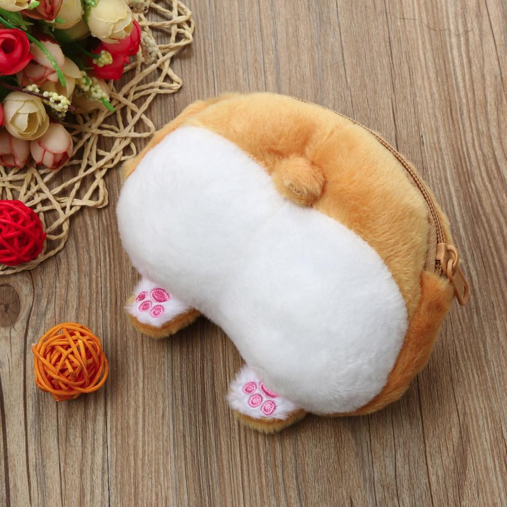 Girl Wallet Bag Ladies Cute Cartoon Corgi Dog Butt Coin Purse Mini Plush Money Wallet Coins Pouch #35