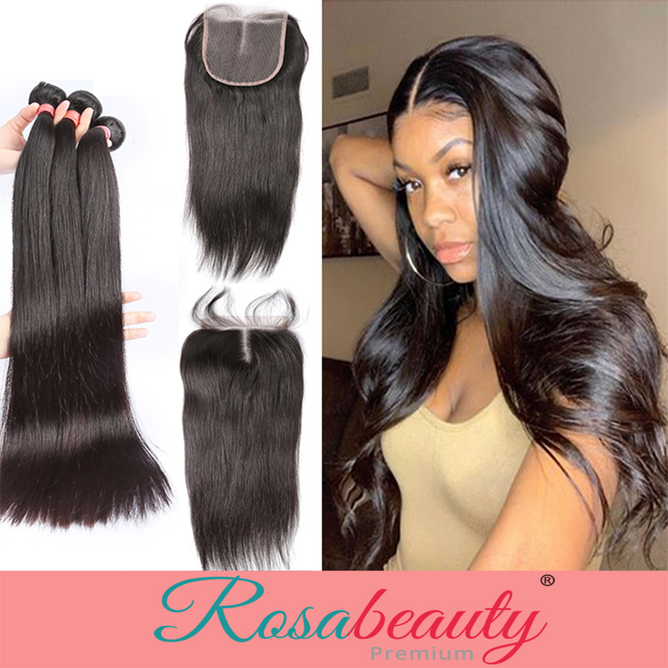 Rosabeauty 8-28 30 32 40 Inch Straight Peruvian Hair 3 4 Weave Bundles With 4X4 Lace Closure Frontal Preplucked Human Hair Wigs