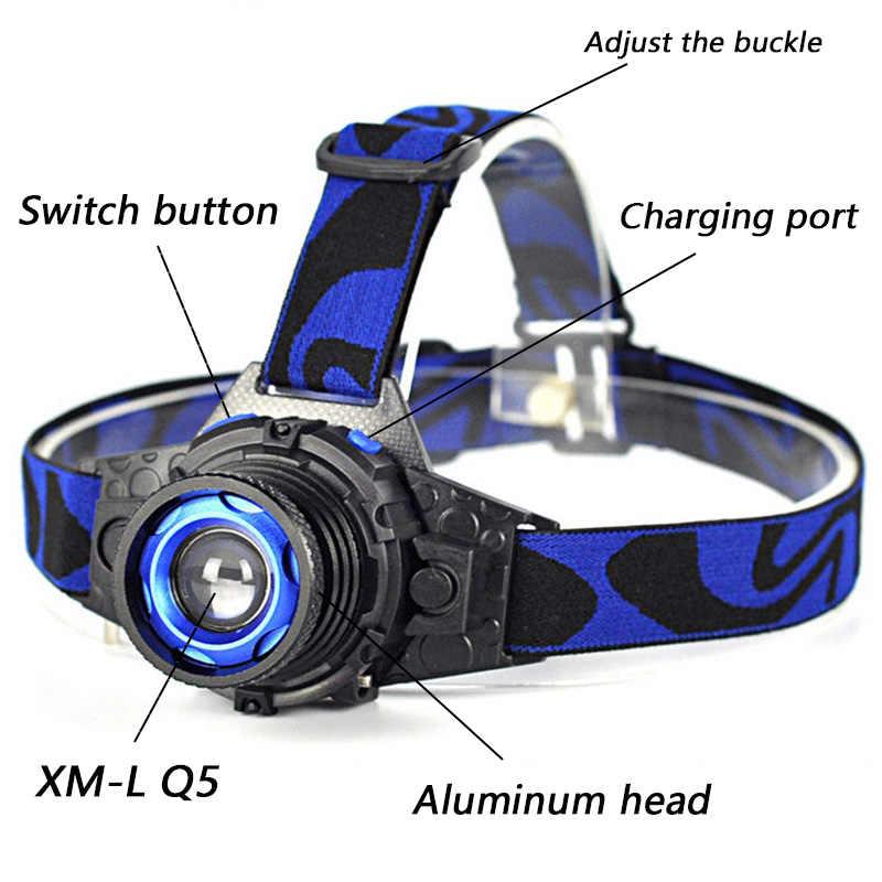 FX-DZ902308 Встроенный перезаряжаемый аккумулятор Q5 светодиодный яркий налобный фонарь головной светильник светодиодный налобный светильник
