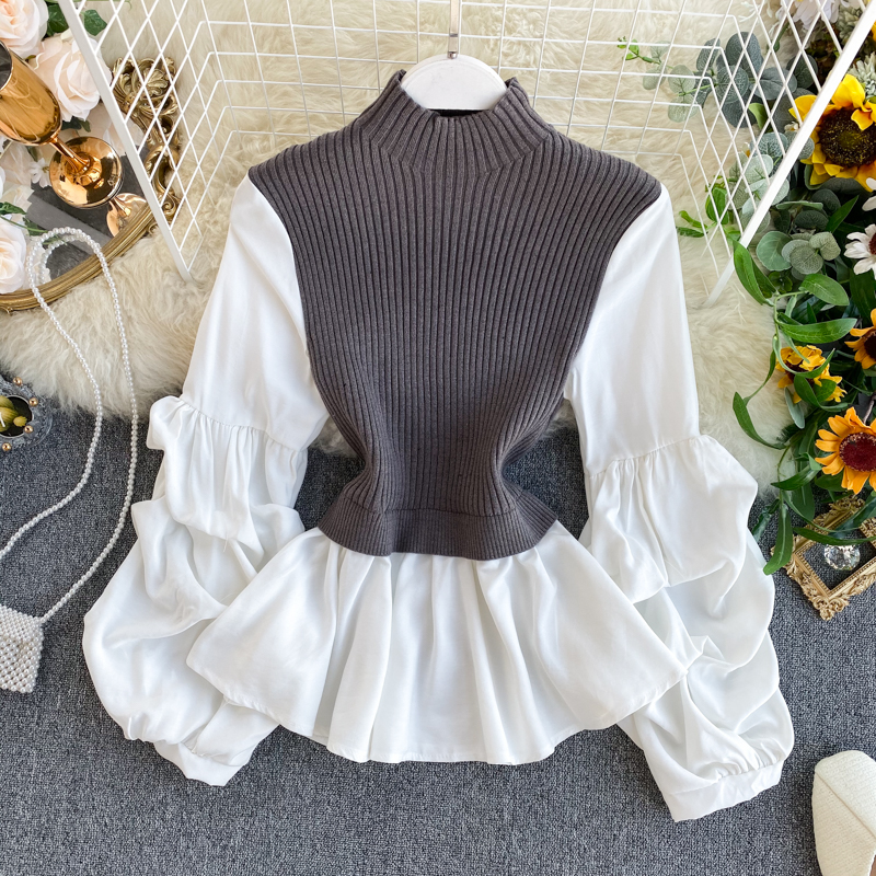 Women's Knit Patchwork Fake Two-piece Tops Slim Fit Slim Lantern Sleeved Shirt Tide Turtleneck Pullovers Sweater Tops ML574