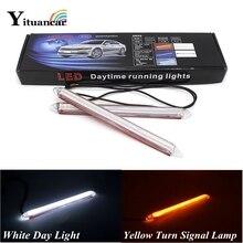 Yituancar 2X LED White Daytime Running Lights Bar Car Styling DC9 16V Flexible Flowing Yellow Steering Turn Signal DRL Fog Lamp