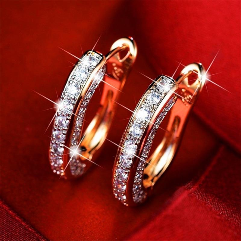Female Luxury White Crystal Hoop Earrings Vintage Silver Color Zircon Stone Earrings For Women Punk Hip Hop Wedding Earring Gift