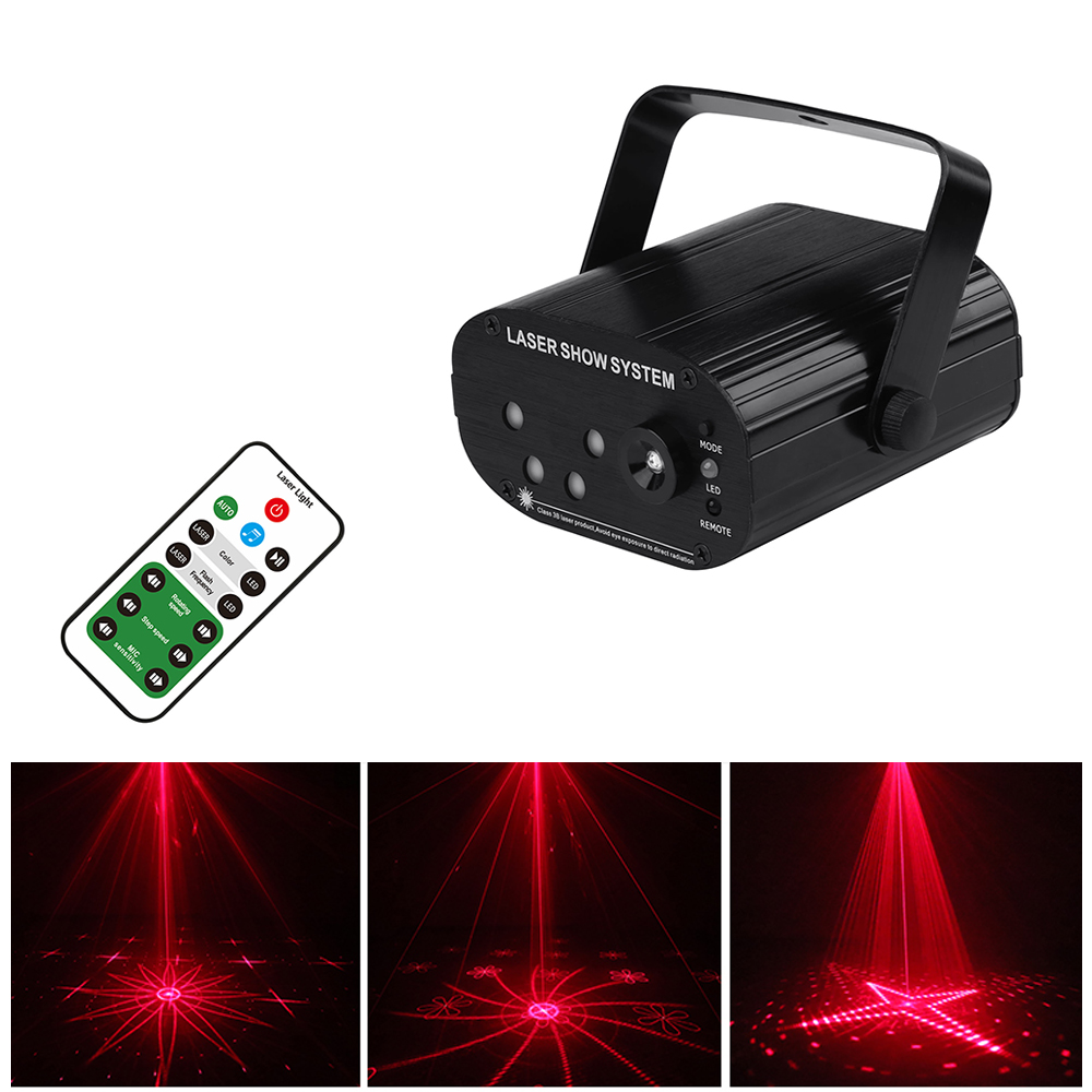 RGB LED Disco Light 128 Patterns DJ Laser Projector Voice Control Music Xmas Remote Stage Light Christmas Party Lighting Effect
