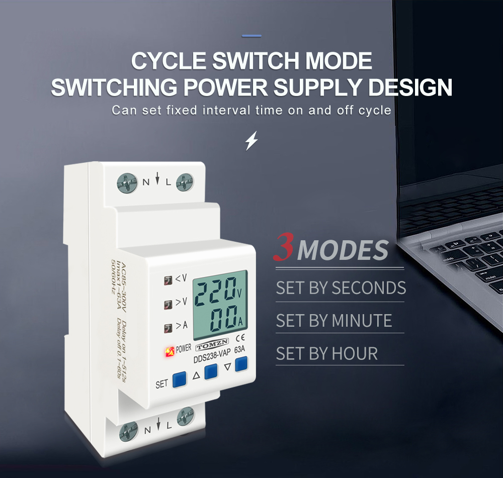 H7473dfc6d4de4a25b81f3a94d2727288r - 63A 80A 110V 230V Din rail adjustable over under voltage protective device current limit protection Voltmeter ammeter Kwh