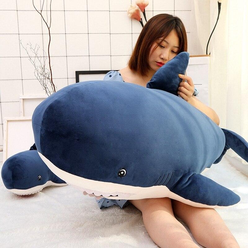 Новая мягкая игрушка акулы большого размера 55/80/115 см, плюшевые игрушки, детские плюшевые игрушки акулы, милая подушка, подушка, подарок для д...