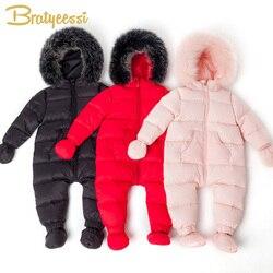 Weiß Unten Baby Jungen Overall Wasserdichte Winter Baby Mädchen Kleidung Dicke Warme Mit Kapuze Baby Strampler Outwear Kleinkind Onesie