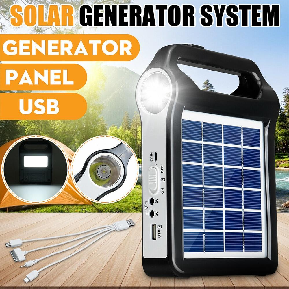 portatil 6v recarregavel painel solar sistema de armazenamento energia gerador carregador usb com iluminacao da lampada