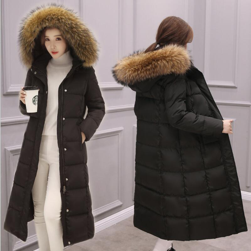 큰 진짜 모피 칼라 parka womens down jacket 2019 겨울 자켓 여성 두꺼운 스노우웨어 겨울 코트 여성 자켓 long outerwear-에서파카부터 여성 의류 의  그룹 1