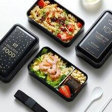Ланч-бокс, детский пищевой контейнер, двойная микроволновая печь, японский Бенто-бокс для хранения, портативный Школьный набор для пикника, Ланч-бокс, 1200 мл
