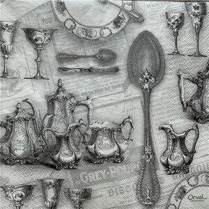 Image 5 - Decoupage serwetki papierowe elegancki tkanki w stylu vintage ręcznik czarny szary pałac z dzbankiem do herbaty i filiżankami urodziny wesele strona główna piękny wystrój