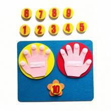1Set numeri di dita in feltro fatti a mano giocattolo per la matematica 25*20cm bambini conteggio giocattolo per la matematica aiuti didattici fai da te tessuto artigianale Montessori per bambini