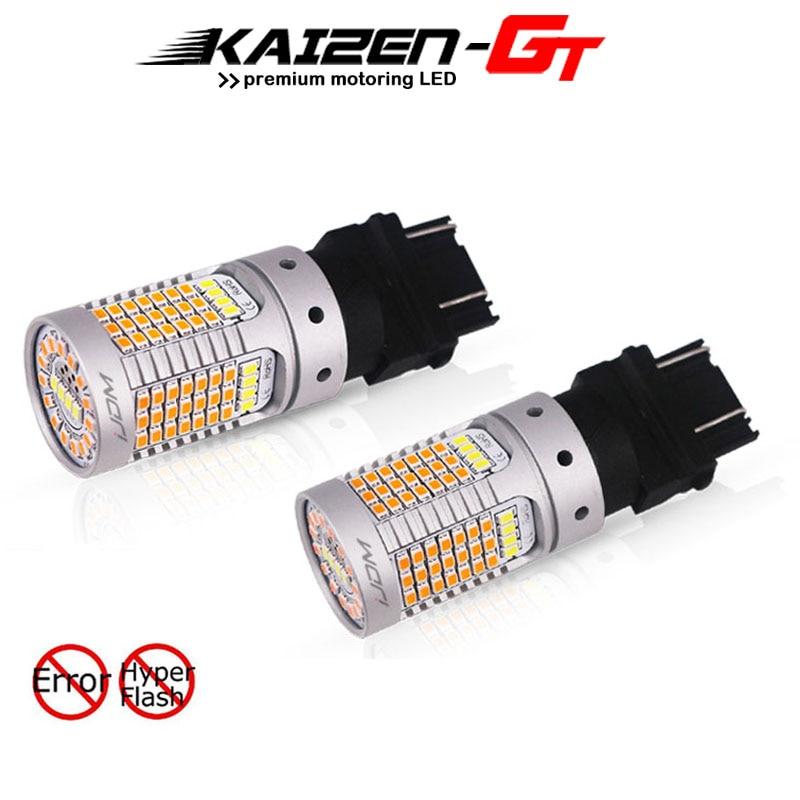 Bombillas LED T25 para luces diurnas y de señal de giro, sin Error, hiperflash, Color blanco/ámbar, 3157, 12V, 3155