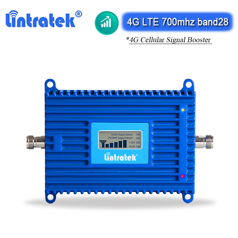Lintratek Band 28 4G LTE Cellular Amplifier 700mhz Mobile Phone Signal Repeater ALC/AGC 70dB Internet Cell Phone Booster
