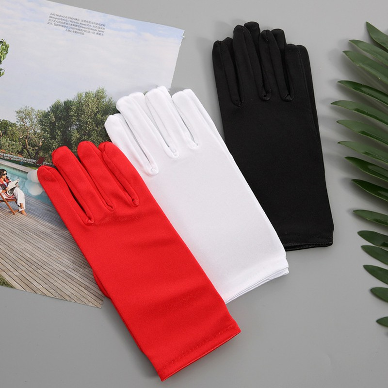 White Black Red Elegant Short Satin For Bride Bridal Wedding Gloves 2019 Femme Women Finger Guantes De Novia ST151