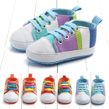 2019 Baby Boys Girls Canvas Baby Rainbow Sneakers Shoes Newborn First Walkers Shoes Infant Toddler Soft Sole Anti-slip For 0-18M недорого