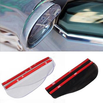 2 szt Lusterko boczne samochodu wodoodporna osłona przeciwsłoneczna deszcz brwi podgląd widoku z tyłu samochodu boczna osłona przeciwdeszczowa elastyczny ochraniacz na samochód tanie i dobre opinie JDM RACING PVC black transparent 18cm x 5 5cm 2PCS car rear view mirror rain eyebrow