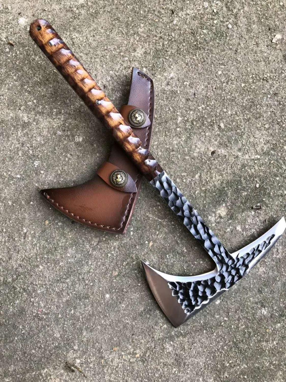 Yeelong personalizado hecho a mano táctico hacha TOMAHAWK vikingo hacha soportado hacha de CAMPING La cabeza