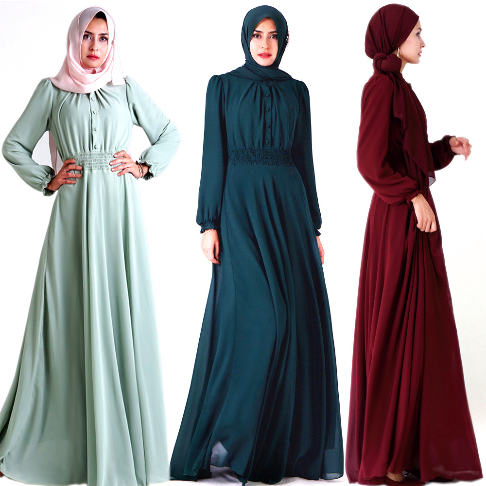 2019 nouvelles Abayas pour les femmes en mousseline de soie à manches longues robe complète dames Abaya dubaï robe musulmane vêtements islamiques Maxi robe SL1732