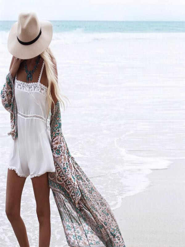 Kobiety kwiatowy Print szyfonowa bluzka luźny szal kardigan kimono Cover up koszule bluzka plaża wakacje koszule Blusas bluzki