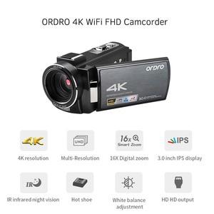 "Image 5 - ORDRO מצלמת וידאו 4K WiFi מצלמת וידאו דיגיטלי DV 30MP 16X 3 ""IPS מסך מגע 0.39X רחב זווית עדשה + מיקרופון + לן הוד + מחזיק משלוח על ידי DHK"