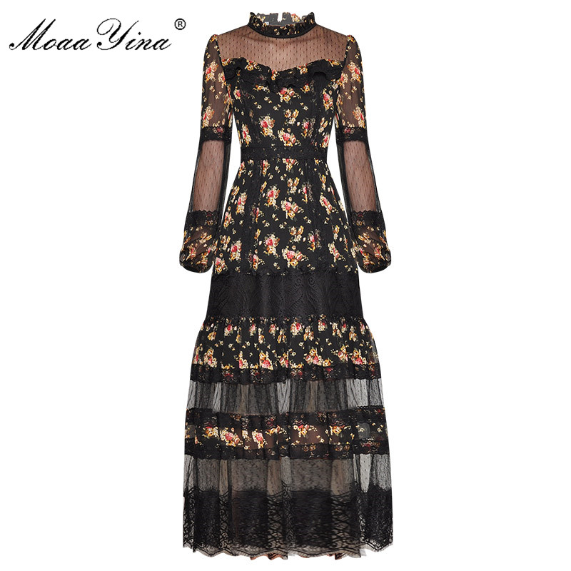 MoaaYina Fashion Runway Dress Spring Women's Dress Stand Collar Lantern Sleeve Lace Patchwork Floral-Print Elegant Dresses